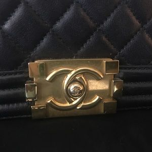 CHANEL Bags - SOLD❌】Chanel small Le Boy Calfskin Black Gold